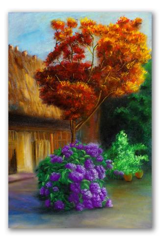 Quadro di giardino fiorito paesaggio dipinto a olio in for Giardino fiorito