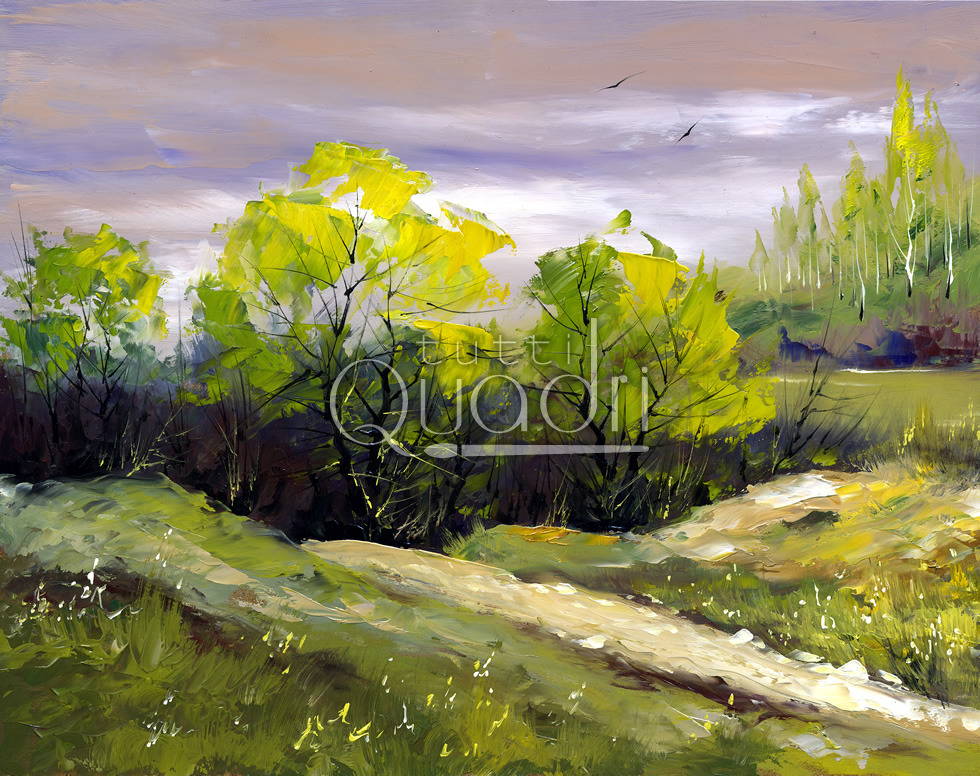 Quadro alberi di montagna paesaggio dipinto a mano a spatola for Quadri dipinti a mano paesaggi