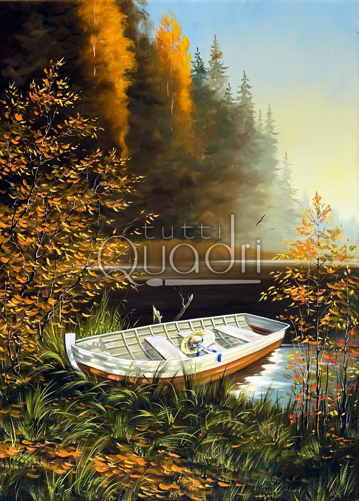 Quadro con lago, paesaggio realista con una barca.