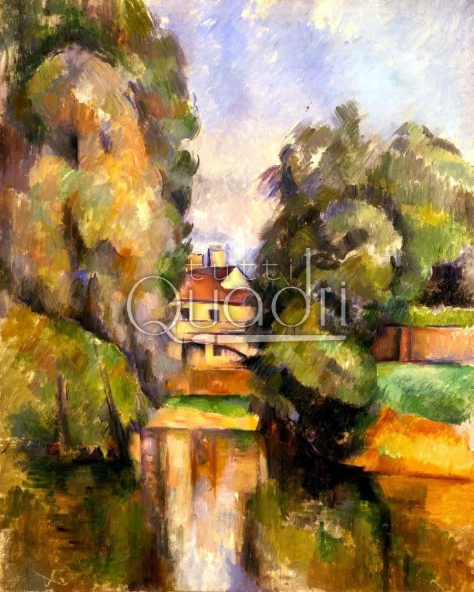 Casa di campagna vicino al fiume quadro di c zanne for Stampe di campagna francese