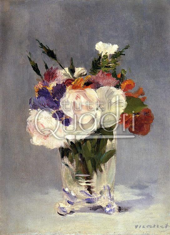 Fiori in un vaso di cristallo di manet quadro floreale for Immagini di quadri con fiori