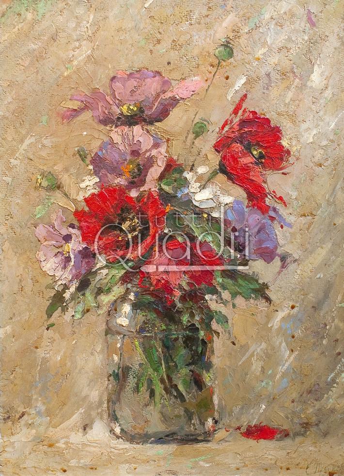 Quadro rustico con vaso di fiori decorazione rustica for Quadri ad olio con fiori
