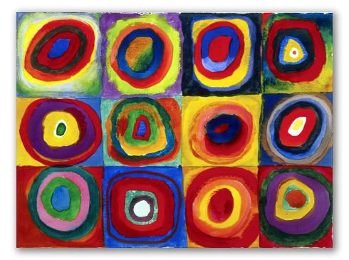 Studio sul Colore: Quadrati con Cerchi Concentrici