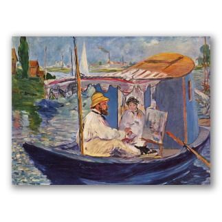Monet che dipinge sulla sua barca